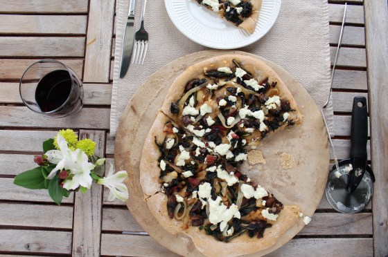 Portabella Mushroom, Swiss Chard & Kale Pizza with caramelized onions, goat cheese and espresso balsamic vinegar