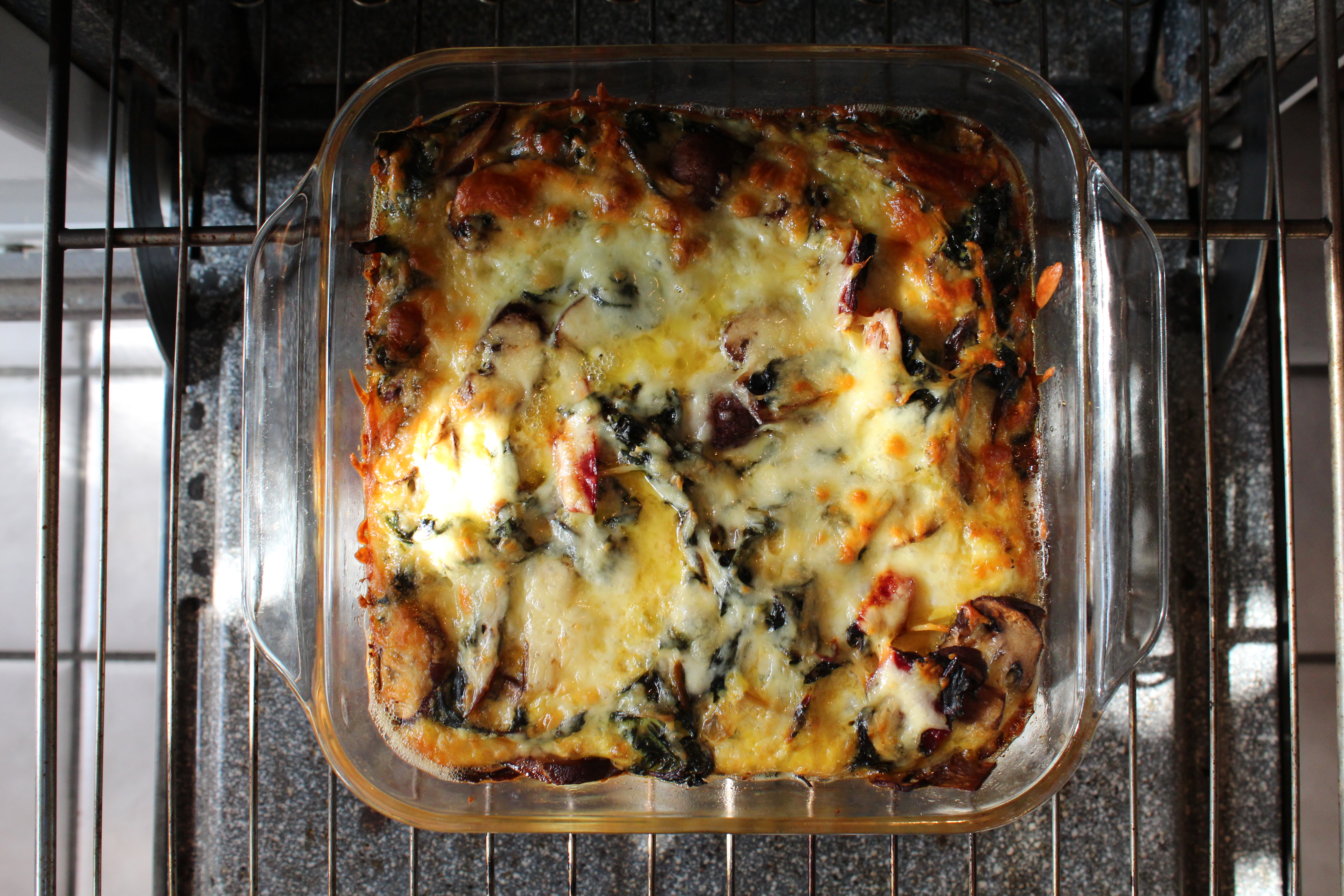 Red Quinoa Strata with Roasted Mushrooms, Swiss Chard and Aged Cheddar ...